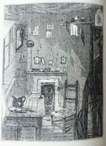 'Interior of House in Court' - George Godwin, London Shadows (1854)  'The room is little more than 7 feet long by 6 feet wide; the greatest height 6 feet 9 inches. The narrow bedstead, which is doubled up in the daytime, reaches, when let down, close to the fire-place… Our engraving makes the room appear too large'
